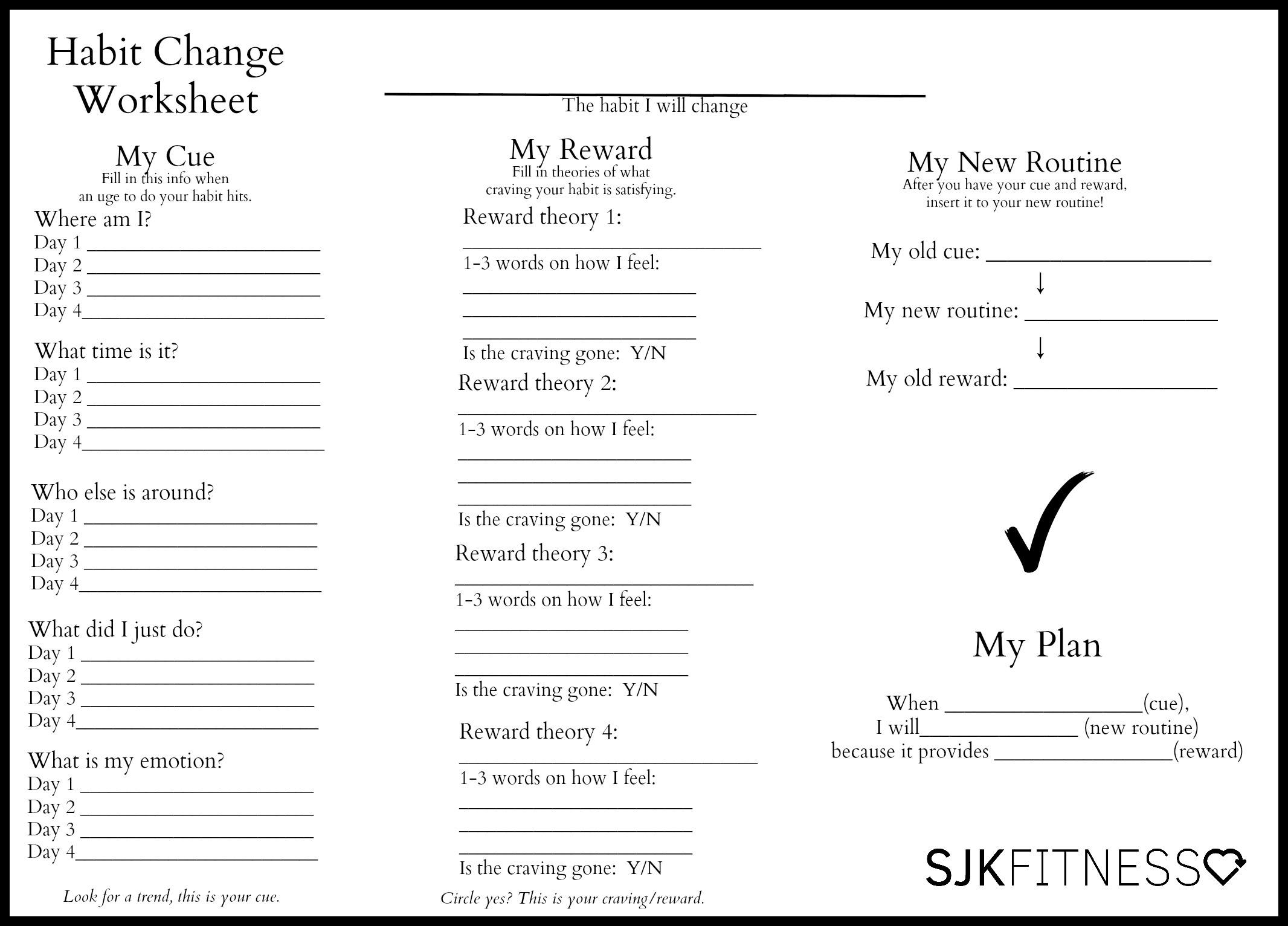 worksheet with steps to change a bad habit