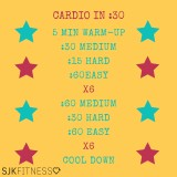 Cardio in :30 -60 Medium-30 Hard-60 Easy